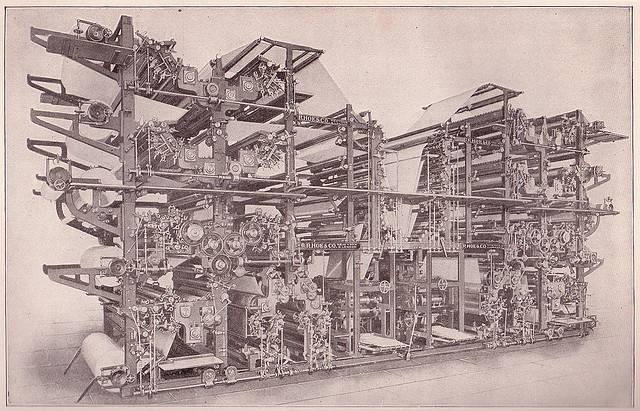 There's been a few changes in the world of news production and preservation in the past century. Photo: Double Octuple Newspaper Press by Sue Clark https://www.flickr.com/photos/perpetualplum/